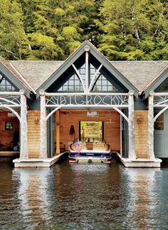 Rustic Boathouse by Thom Filicia and Shope Reno Wharton in Upper Saranac Lake, NY
