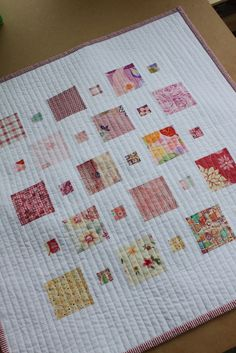 modern vertical line quilting  love the patches of patterns against a white solid color background Pink Quilt - finished   Flickr - Photo Sharing!