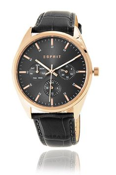 Esprit / rose gold-coloured watch + leather strap
