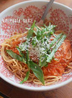 weekday pasta with homemade marinara.