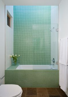 Modern Bathroom by San Francisco Architects & Designers Swatt | Miers Architects. The tiles are Cartglass glass tiles