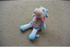 Tiamo knuffel blauw roze bloem koe
