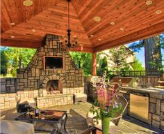 Over outside kitchen patio/fireplace