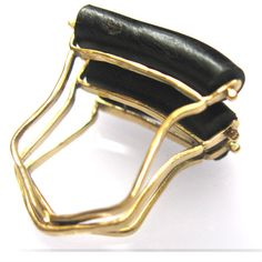 Black Coral ring 18kt yellow gold