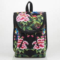 Beautiful Handmade Embroidered Boho-Style Floral Print Student Backpack 5 Colors-Loluxe