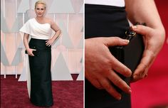Patricia  Arquette wears a custom-made Rosa Getty gown and carries a simple black Salvatore Ferragamo clutch at.the 2015 Oscars