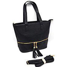 AF9272 - Petit Sac à Main Cabas Simili Cuir Grainé avec Fermeture Zip Dorée et Pompons Franges - Mode Femme (Noir)