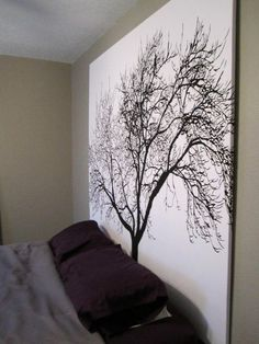 staple a shower curtain to a wooden frame for inexpensive large scale artwork. such a good idea...