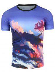 Crew Neck 3D Cloud and Tree Print T-Shirt - COLORMIX
