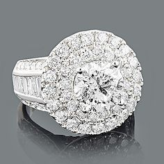 $18,750 Dazzling Custom Designed Baguette and Round Diamond Engagement Ring