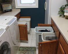 Laundry Room Makeover - traditional - laundry room - kansas city - Pezzo Bello Interiors great idea for storing laundry baskets Laundry Room Makeover, Laundry Cabinets, Decor, Laundry Mud Room, Remodel, Laundry Hamper, Home, Laundry Room Design, Room