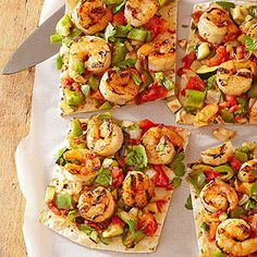 Shrimp Fajita Grill Breads Top a flatbread or tortilla with grilled shrimp and vegetables for a fresh and light twist on pizza. Shrimp Appetizers, Shrimp Recipes, Fish Recipes, Pizza Recipes, Dinner Recipes, Shrimp Dishes, Mexican Recipes, Asian Recipes, Grilling Recipes
