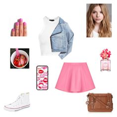 """pink"" by synclairel ❤ liked on Polyvore featuring RED Valentino, Topshop, Converse, Chloé, Marc Jacobs, women's clothing, women, female, woman and misses"