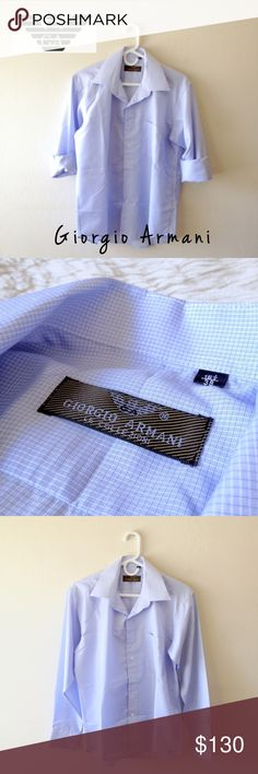 """🚹 Italian cotton shirt Like New • Part of the Armani Collezioni line, known for being """"impeccably tailored"""" • Classic button-down shirt with subtle two-tone crosshatch design. Quintessential pocket at left chest. Imported • ~Retail $225 Giorgio Armani Shirts Dress Shirts"""