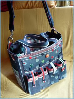 Handmade by Judy Majoros - Polka dots denim scrapbooking tote bag. Recycled bag. Materials:denim-cordura-rubber strap-velcro-lace-button-bead...