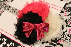 Pink Black Ivory Shabby Chic Flower Headband Clip Bow by miniMEacc, $9.99
