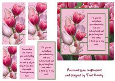 thank you tulips on Craftsuprint - Add To Basket! 3d Cards, Pink Tulips, Printable Crafts, Free Paper, Really Cool Stuff, Thank You Cards, Decoupage, Knitting Patterns, Card Making