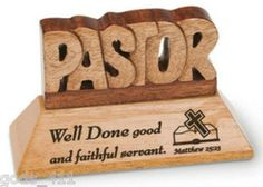 PASTOR Solid Mahogany Carved Plaque Well Done Good & Faithful Servant N1942PA. Pastor Appreciation MonthAppreciation CardsGifts ...