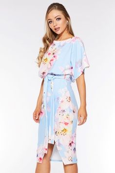 be383e8a6 Buy Quiz Belt Detail Printed Midi Dress from the Next UK online shop
