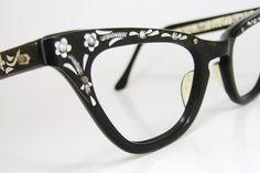 Vintage 50s Black Cat Eye Eyeglasses Frame With Flowers and Rhinestones Never Worn