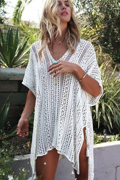 Light Weight Over-Sized Crochet Asymmetric Pull Over Beach Swimsuit Cover-up Beachwear-White Crochet Snood, Crochet Top, Knitted Cape, Knitted Shawls, Crochet Fashion, Scarf Vest, Poncho Sweater, Crochet Bikini, Crochet Crafts
