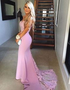Sexy Straps Mermaid Lace Long Prom Dress with Sweetheart neckline Pink Bridesmaid Dress Evening Gowns