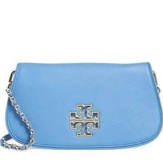 Tory Burch 'Britten' Leather Clutch - Blue - Brought to you by Avarsha.com