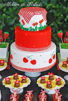1st Birthday Cake For Girls, Picnic Birthday, Bolo Picnic, Bbq Cake, Watermelon Birthday Parties, Cherries Jubilee, Cherry Cake, Colorful Cakes, Girl Cakes