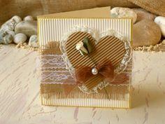 Rustic Valentine's Card 6x6 Brown Cream Burlap by 4SeasonCards