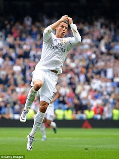 Cristiano Ronaldo of Real Madrid celebrates after scoring Real's goal during the La Liga match between Real Madrid CF and Levante UD at estadio Santiago Bernabeu on October 2015 in Madrid, Spain. Cristino Ronaldo, Ronaldo Football, Cristiano Ronaldo Cr7, Football Soccer, Real Madrid Team, Ronaldo Real Madrid, Real Madrid Players, Ronaldo Pictures, Soccer Pictures