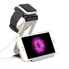 Dual Charging stand that will hold your Apple Gadgets and make it easy to charge. Its unique design allows you to charge your iWatch and also your iPhone any model easy and convenient to charge. Use y