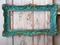 Aqua picture frame wall hanging decor w/ hints by AnitaSperoDesign