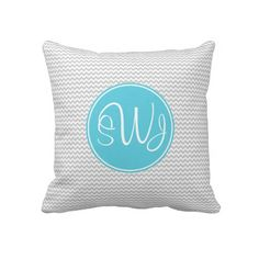 Gray and Blue Chevron Pillow
