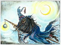 Mystical Flying Witch on Broom and Crescent by DreanasDragonflyPie, $20.00