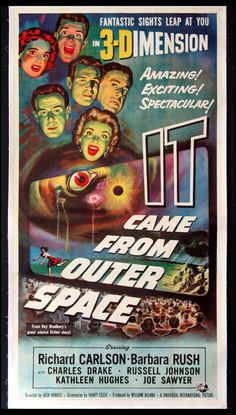 IT CAME FROM OUTER SPACE  (1953)  Original three sheet size, 41x81 movie poster. Best Movie Posters, Horror Movie Posters, Cinema Posters, Movie Poster Art, Gig Poster, Retro Posters, Monster Horror Movies, Sci Fi Horror Movies, Sf Movies