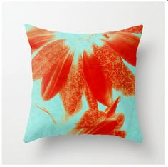 Decorative Throw Pillow Fancy Schmancy Gerberas tangerine and turquoise artistic pillow
