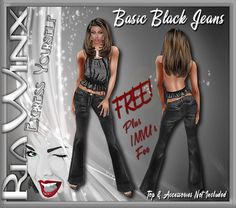 !!!~FREE JEANS~!!! Yes, you read that right! FREE JEANS -- But you still have to pay IMVU their fees - sorry about that. With all the negativity going on in my life, and since I've been wanting to do something like this for awhile now, I decided to do something positive!  ~ A little special something to say THANK YOU to all who shop my catalog! ~ ~ Feel free to USE YOUR PROMO CREDITS to purchase these jeans! ~ BASIC BLACK JEANS http://www.imvu.com/shop/product.php?products_id=24670845