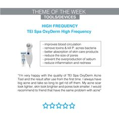 We appreciate customer reviews so much here at Dermacare Direct - this one is from our amazing customers who uses the TEI SPA Oxyderm high frequency tool #dermacaredirect #highfrequency Improve Blood Circulation, Reduce Inflammation, Beauty Products, Spa, How To Remove, Skin Care, Tools, Amazing, Instruments