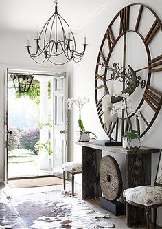 shabby chic interior - clock*** - chic decor room chic design and decoration interior design de casas design Shabby Chic Interiors, Shabby Chic Homes, Hill Interiors, Cottage Interiors, Tall Wall Decor, Decor For Large Wall, Iron Wall Decor, Halls, Foyer Decorating