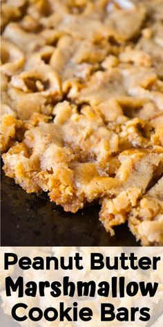 Peanut Butter Marshmallow Cookie Bars are an easy and delicious dessert. These peanut butter cookie bars are soft and chewy and loaded with Skor bits. peanut butter chocolate for peanut butter lovers peanut butter with peanut butter easy Marshmallow Desserts, Chocolate Marshmallow Cookies, Recipes With Marshmallows, Marshmallow Peanut Butter Squares, Fudge Recipes, Cookie Recipes, Dessert Recipes, Bar Recipes, Kitchen Recipes