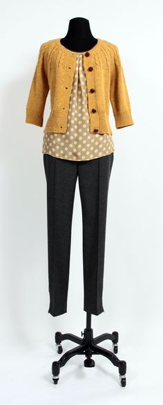 1.2.3 Paris - Top Banbalah / Gilet Canari / Pantalon Mage #mode #hiver #123 #jaune #pois #ocre #maille #gris #soie