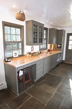 slate floor with taupe kitchen cabinets - Google Search