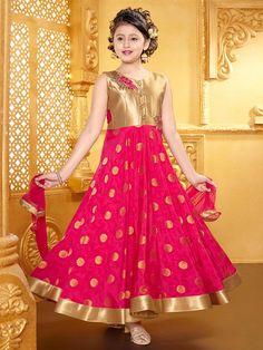 Shop Magenta alluring silk anarkali suit online from India. Kids Party Wear Dresses, Wedding Dresses For Kids, Baby Girl Party Dresses, Dresses Kids Girl, Girl Outfits, Baby Dress, Fashion Outfits, Silk Anarkali Suits, Lehenga Gown