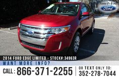 2014 Ford Edge Limited - Sport Utility Vehicle - V6 3.5L Engine - Keypad Door Lock - Remote Keyless Entry - Alloy Wheels - Spoiler - Tinted Windows - Fog Lights - Tan Leather Interior - Safety Airbags - Powered Windows/Locks/Mirrors/Driver Seat - Seats 5 - AM.FM/CD/SIRIUS Satellite - Touch Screen - iPod/Aux/USB Ports - Bluetooth - SYNC by Microsoft - Digital Compass - Outside Temperature - Heated Front Seats - HomeLink - Backup Camera - Cruise Control - Ambient Lighting and more!