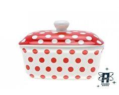 New Retro Vintage Style Ceramic Polka Dot Butter Dish Red White Black Container | eBay