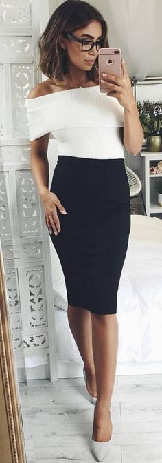 #spring #outfits White Off The Shoulder Top + Black Pencil Skirt + Grey Pumps ✨