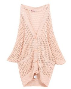 Pink Bat Sleeve V-Neck Four Button Hollow Cardigan