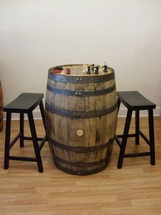 Old Whiskey Barrel c/Checker/Chess Board/Game Pieces/ 2 Bar Stools #AuntMollysBarrelProducts