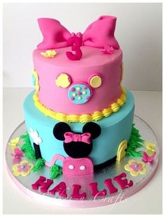 OMG a Micky Mouse Clubhouse cake!! Switch the colors for a boy or the ones on the show and that would be awesome!