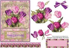 TULIPS TOPPER DECOUPAGE BIRTHDAY on Craftsuprint - Add To Basket!